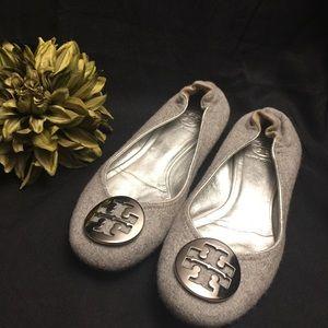 Tory Burch-Grey Reva Ballet Flats Silver-7.5